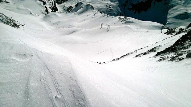 Il ghiacciaio del Siedel alcune settimane prima il Positivity